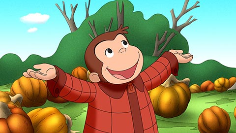 Curious George in a pumpkin patch thumbnail